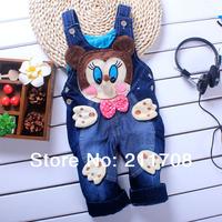 NEW blue Children jeans overalls suspender Cartoon Baby Shoulder strap two-button  baby denim overalls 1PC