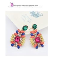 Free shipping inci kupe 2014 summer national shining jewel earrings fashion women Bohemia colorful drop earrings for nice girl