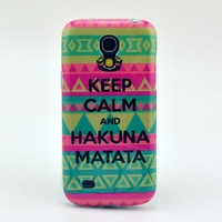 Free Shipping Tribal Pattern Keep Calm and Hakuna Matata Soft TPU Case Cover for Samsung Galaxy S4 Mini i9190