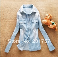 Free Shipping Fashion Women's Casual Pure Cotton Blouses Ladies Button Pockets Denim Shirts Long-Sleeve Jeans Blouse Tops S-XXL