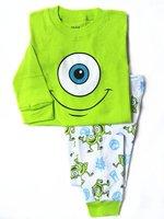 Retail 100% 2014 spring autumn cotton long sleeve cartoon eye pijamas kids pajama sets boy pajamas baby clothing