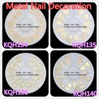 wholesale LOTS 4 wheel/lot 3d nail gold metal nail decoration studs metal nail jewelry  mix free shipping