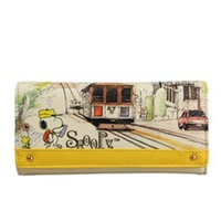 Snoopy SNOOPY wallet female 2014 cartoon design three fold long wallet 803625  Free shipping