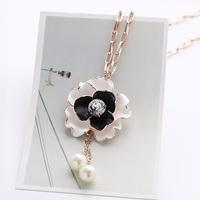 Luxury flower in love tassel necklace short necklace design female fashion all-match