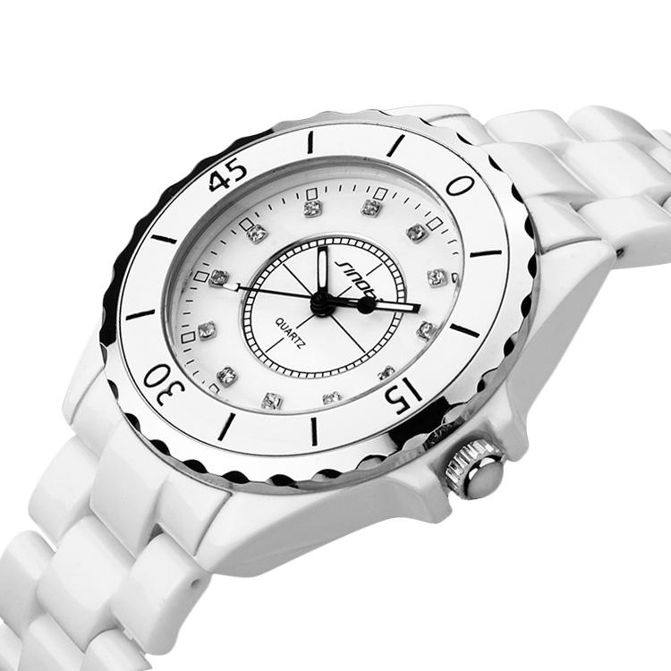 Fashion Ceramic Strap Sinobi Watch For Women white Rhinestone Dress Wristwatch WA1006(China (Mainland))