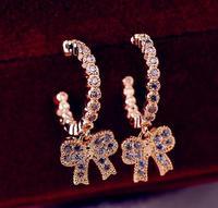 2014  Fashion Luxury 18Gold Plated BowKnot Pendant Zircon Hook Earring Female Wedding Earring