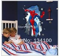 Spiderman of 3D effect  Wall sticker Children Movie Hero Vinyl Wall decals   for Boy New 2014 Sticker Home decor