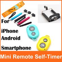 1pcs Wireless Bluetooth Remote Control Camera Self-Timer Shutter+1pcs Monopod+1pcs Clip Holder for iPhone/iPad Samsung Andriod