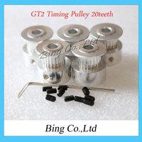 2pcs/Lot GT2 Timing Pulley 20teeth ( 20 teeth ) Alumium Bore 5mm fit for GT2 belt Width 6mm