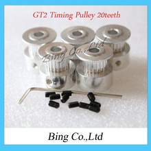 GT2 Timing Pulley 20teeth ( 20 teeth ) Alumium Bore 5mm fit for GT2 belt Width 6mm(China (Mainland))