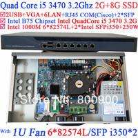 Low cost rackmount 1U Firewall with 6*1000M 82574L Gigabit Nics 2* intel i350 SFP Intel Quad Core i5 3470 3.2Ghz 2G RAM 8G SSD