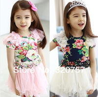WD230,Summer children clothing exquisite small floral split joint lace grenadine girl dress,5-10Y,free shipping