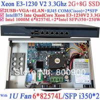 Factory direct sale 1U Firewall Quad Core Xeon E3-1230 V2 3.3G with 8 Ports 6*1000M 82574L Gigabit Nic 2* i350 SFP 2G RAM 8G SSD