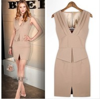 2014 Summer Dress Fake Two Pieces Large Size Deep V-Neck  Sexy Dress Slim Waist OL Elegant  Work Dress Party Bodycon  Dress