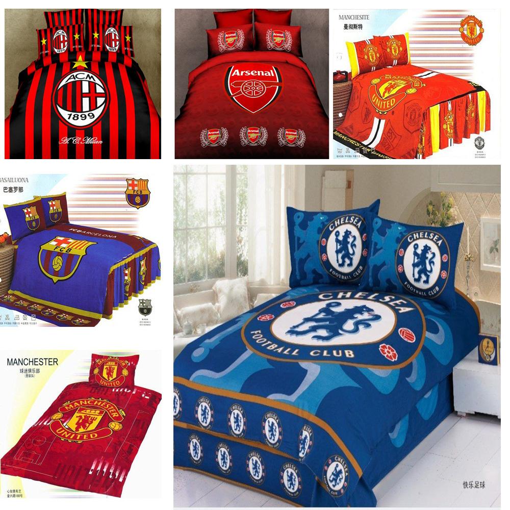 100%cotton Children Boy Barcelona Fans Football Active Printed 3pcs Flat sheet set Duvet cover Bedding set Twin Single bed(China (Mainland))