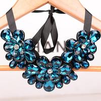 2014 New Fashion Blue Austrian Crystal Women's Necklaces Rhinestone Flowers False Collar Vintage Gem Jewerlry For women