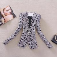 Autumn Winter Outerwear Elegant Vintage Fashion Office Ladies Brief Logo Slim Coat Jacket And Blazer Women Branco Feminino 2014
