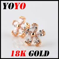 Fashion Sale Freeshipping Trendy Earrings 2014 New Jewelry Women Earring Bijoux 18k -plated Little Flower Zircon Earrings,hm001