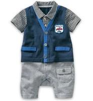 [E-Best]Retail ! New 2014 baby boys jumpsuits gentleman jumpsuits 4 designs baby suit RP094