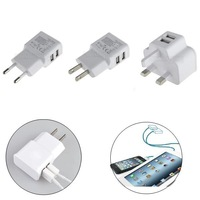 Universal Wall Charger Adapter EU/US/UK Plug  2 Ports Dual USB For iPhone Samsung Galaxy Tabs Phone Free Shipping