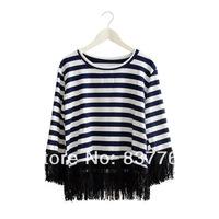 2014 Spring and summer women new fashion stripe o-neck half sleeve tassel loose t-shirt women's cotton t shirts women clothes
