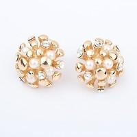 Free shipping aretes de perla 2014 hot design golden shining wedding earrings high quality women romantic balls stud earrings