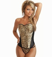Free shipping 2014 New Style Sexy corset Top Metal Corset 4F3079 Sexy Leopard Corsets