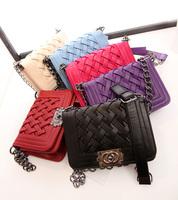 High quality fashion small one shoulder woven bag chain bag messenger bag small bag