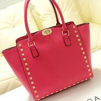 2014 fashion rivet lock elegant handbag messenger bag
