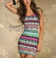 Women Sexy Vintage Printed Clubwear Tank Dress Summer bandage strap casual dress