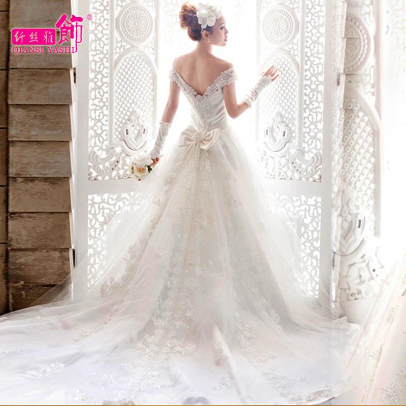 2014 wedding train sweet princess plus size floor length or long trailing wedding dress slit neckline wedding dress 2014(China (Mainland))
