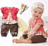 kids girls clothing sets for summer 2014 new baby custom clothes short sleeve t shirt headband  pants 3pcs clothing