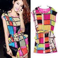 2014 New arrival  Women's Dress large size Sleeveless Dresses Women Korean fashion Slim Sexy patchwork mini OL dress