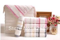Free Shopping 100% cotton soft and comfortable soft striped towel 72*34CM 2pcs/lot