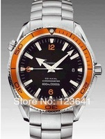 Hot sale brand fashion watch Men's Mechanical Stainless steel Automatic wristwatch orange bezel Free shipping