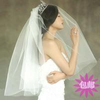 Star style bride wedding dress veil double layer soft screen insert comb design short veil Free shipping