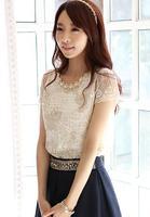 free shipping!New  summer lace shirt embroidery lace beading shirt short-sleeve chiffon shirt