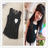 wholesale 5pcs/lot girls T Shirts white black  Lace Top Tees, Girl T-Shirts Vest, Free Shipping 1588