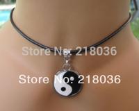 Black &White Enamel Yin &Yang Charm  statements Leather Choker Necklace&Pendants Vintage Fashion  For Women Jewelry 10Pcs  N1701