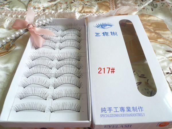 Three trees artificial fiber false eyelashes natural long eyelashes design eyeholes handmade eyelashes(China (Mainland))
