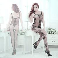 Sexy sexy underwear women transparent netting stockings suspenders piece Jacquard