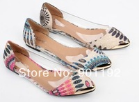 New 2014 Women Shoes Fashion Women's Casual Floral Print Metal Decorative Pointed Toe Sandals Designer Ballet Flats Shoes