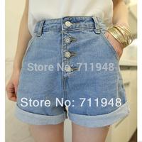 New 2015 Summer breasted loose high waist denim shorts roll-up hem plus size shorts women's Short pants