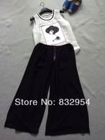 2014 new women cotton vest silk wide leg culottes suit