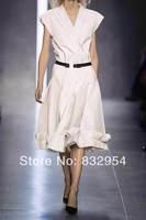 2014 new woman cut natural cotton belt Slim Dress