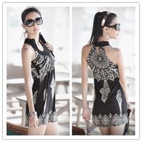 Free Shipping! HOT 2014 New Mini dress Fashion Falbala Waist White Black Button
