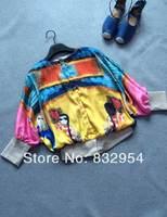 2014 new woman of color cartoon bat sleeve cotton jacket
