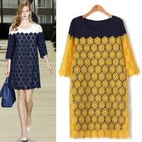Wholesale ! High Quality Plus Size Fat MM Half  Sleeve Thin  Lace Chiffon Patchwork  Fashion Dress  L-XL-XXL-XXXL-XXXXL-XXXXXL