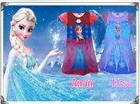 2014 Spring /Summer Frozen Dress Elsa & Anna Princess Dresses Brand Girls Dress Children Clothing Kids Wear Free Shipping