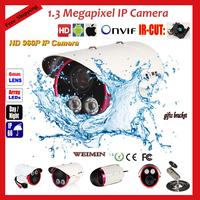 Network  CCTV Camera 1.3 Megapixel 960P HD Onvif,H.264,100meters 2 led Array IR outdoor night IP66 waterproof Security IP Camera